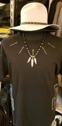 18NTC-FE002SB : 3FEATHER & BEADS & LEATHER STRAPS