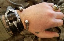 17WRB-E001 : EAGLE BACKLE LEATHER WRIST BAND