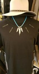 18NTC-FE003SS : 3FEATHER & BEADS & LEATHER STRAPS